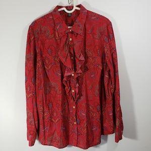 Lauren Ralph Lauren Women's Red Paisley Blouse